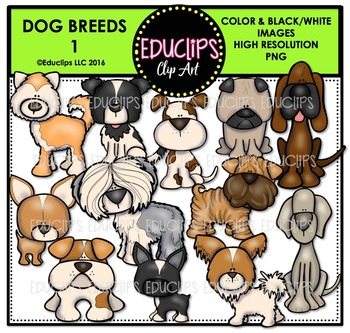 Dog Breeds 1 Clip Art Bundle {Educlips Clipart}