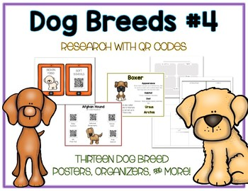 Dog Breeds 4 - Animal Research w QR Codes, Posters, Organizer - 13 Pack