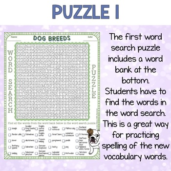 Dog Breeds Word Search Puzzles