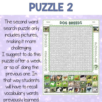 Dog Breeds ESL Activities Word Search Puzzles