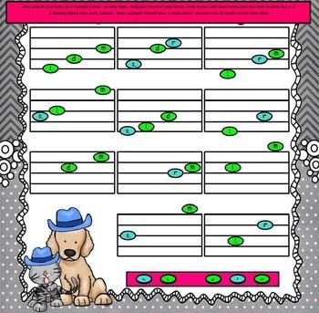 """Dog & Cat, Coat & Hat: U.S. Folk Song for """"d-r-m""""/Intro. to l, & s, (PPT Ed.)"""