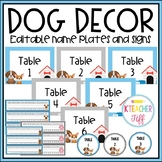 Dog Classroom Decor: Editable Name Plates and Signs