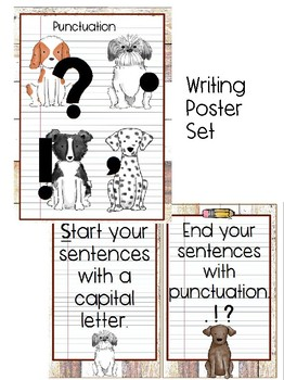Dog Classroom Decor with watercolor and wood background