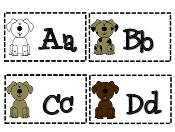 Dog Theme Classroom Pack- Name Tags, Birthday Pups and Alphabet Dogs