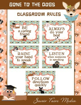 Dog Classroom Theme Rules - Pet Theme - Class Rules - Dog Theme - Pets - Animals