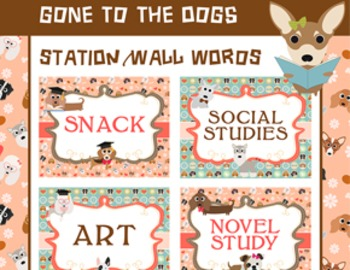 Dog Classroom Theme Word Walls Classroom Signs Posters, Schedule, Pet Theme
