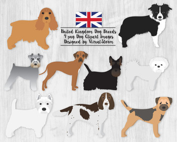 Dog Clipart - 9 Popular United Kingdom Dog Breed Graphics