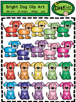 Dog Clip Art - Bright Dogs - Personal and Commercial Use