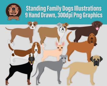 Dog Clip Art, 9 Hand Drawn Dog Illustrations, Doberman, Hounds, Bulldog