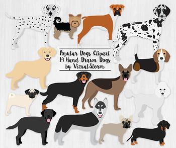 Dog Clip Art V1 - 12 Hand Drawn Popular Dog Breeds Illustr