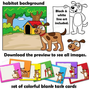 Dog Clip Art with Signs - Letter D in Alphabet Animal Series