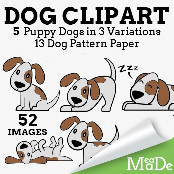Dog Clipart - Cute Cartoon Dog Illustrations