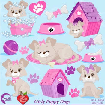 Dog Clipart, Girl Puppy Clipart, Animal Clipart, {Best Teacher Tools} AMB-1924