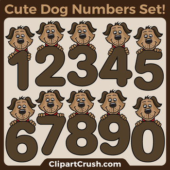 Dog Clipart Numbers / Cute Cartoon Dog Number Clip Art Set!