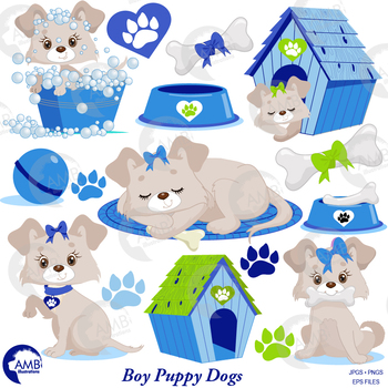 Dog Clipart, Puppy Clipart, Blue Animal Clipart, {Best Teacher Tools} AMB-1930