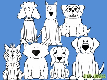 Dog Clipart (black line version)