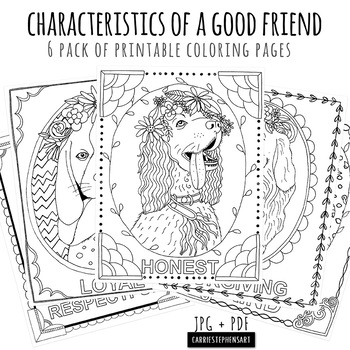 Dog Coloring Page Bundle, Traits of a Friend, Characteristics, Printable
