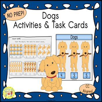 Dogs Count and Clip Task Cards