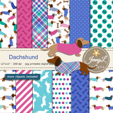 Dog Dachsund Digital papers, Pet Puppy Clipart, Animal Papers SET