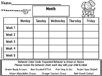 Dog Days Behavior Clip Chart