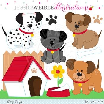 Dog Days Cute Digital Clipart, Puppy Graphics