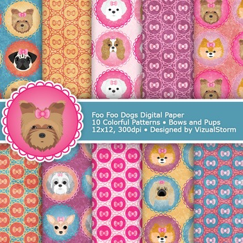 Dog Digital Paper, 10 Printable Girly Pet Patterns - Colorful Toy Dogs and Bows