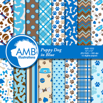 Dog Digital Papers, Blue Puppy Dog Backgrounds {Best Teacher Tools} AMB-1032