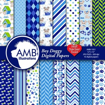 Dog Digital Papers, Blue Puppy Dog Backgrounds {Best Teacher Tools} AMB-1931