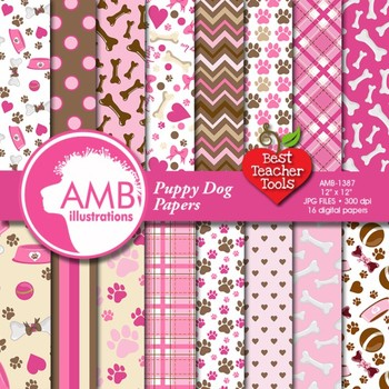 Dog Digital Papers Pink Puppy Dog Backgrounds Amb 1387