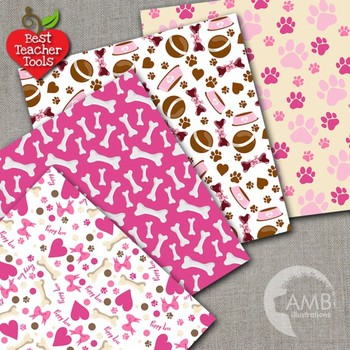 Dog Digital Papers, Pink Puppy Dog Backgrounds {Best Teacher Tools} AMB-1387