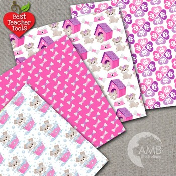 Dog Digital Papers, Pink Puppy Dog Backgrounds {Best Teacher Tools} AMB-1924
