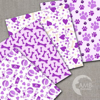 Dog Digital Papers, Purple Puppy Dog Backgrounds {Best Teacher Tools} AMB-1068