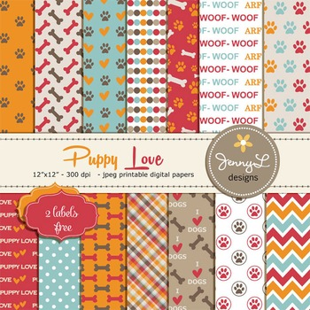 Dog Digital papers, Pet Digital Paper, Puppy Love