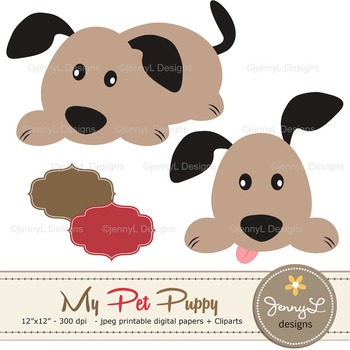 SET:Dog Digital papers, Pet Puppy Clipart, Animal Papers