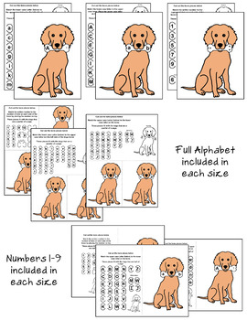 Dog & Dog Bone Alphabet & Number Matching