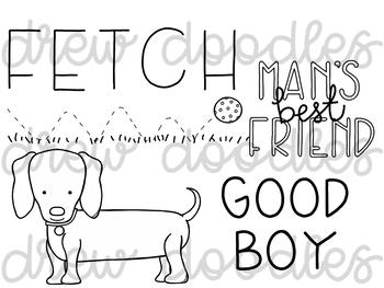 Dog Doodles Digital Clip Art Set- Black Line Version