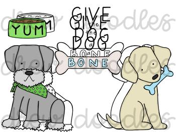 Dog Doodles Digital Clip Art Set- Color and Black Line COMBO