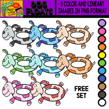 Dog Floats - FREE Colorful Cliparts set - 11 Items