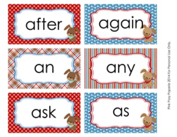 Dog Gone Cute 1st Grade Dolch Sight Wall Words