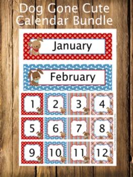 Dog Gone Cute Calendar Set - Months - Days - Numbers