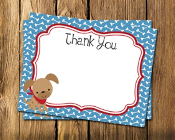 Dog Gone Cute Flat Thank You Note Cards