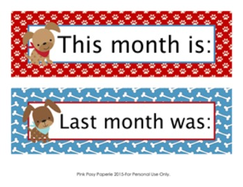 Dog Gone Cute Monthly Calendar Headers