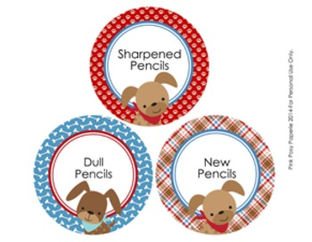 Dog Gone Cute Pencil Caddy Labels