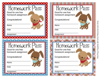 Dog Gone Cute Puppy Homework Passes