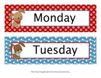 Dog Gone Cute Theme Days of the Week Calendar Headers