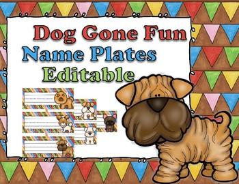 Dog Gone Fun Editable Name Plates