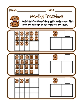Dog Gone Fun Fractions - Ten Frame, Twenty Frame, Bundle