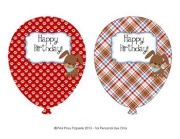 Dog Gone Cute Puppy Birthday Balloons (4 different designs)