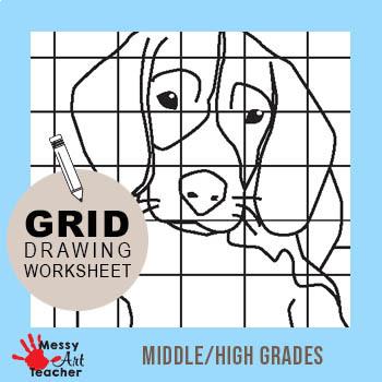 Dog Grid Drawing Worksheet for Middle/High Grades
