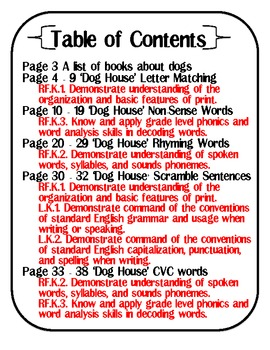 Dog House Literacy Packet